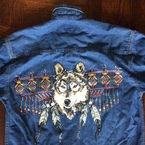 Vintage Denim shirt with Western Wolf design